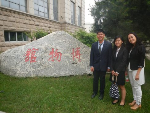Glenn, Jean & Francesca outside 1 of the museums in Shaanxi Normal University  (left to right)
