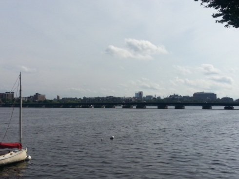View of the Charles River from Cambridge. Excellent weather for running too.