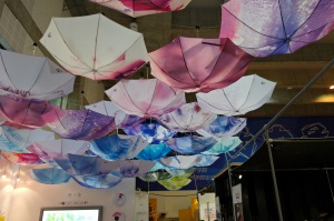 beautiful exhibit made by caolourful umbrellas