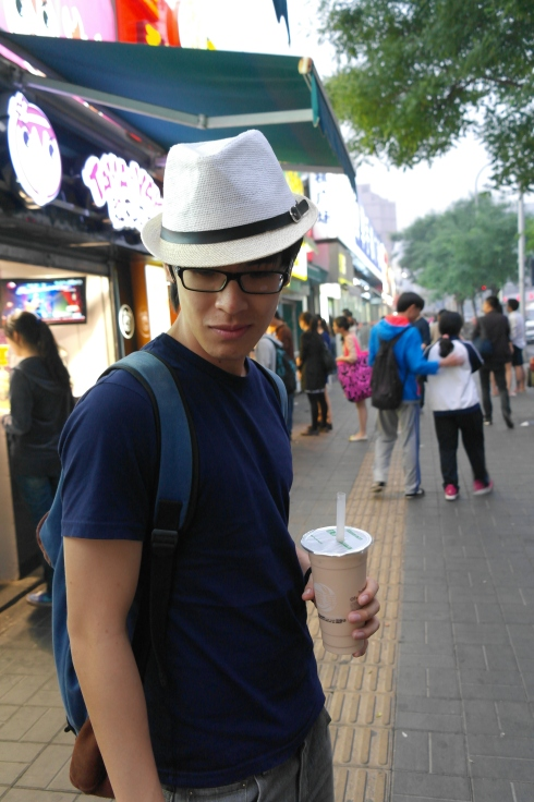 Here's a picture of Yong Cheng looking ever so cool along the food street.